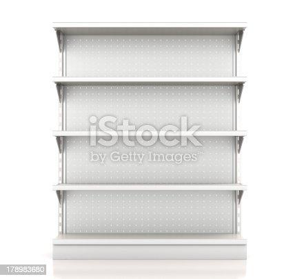 supermarket shelves render from front on white