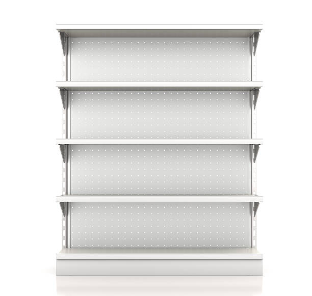 supermarket shelves supermarket shelves render from front on white household fixture stock pictures, royalty-free photos & images