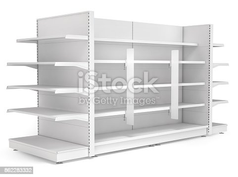 istock Supermarket shelves with advertising stoppers. 862283332
