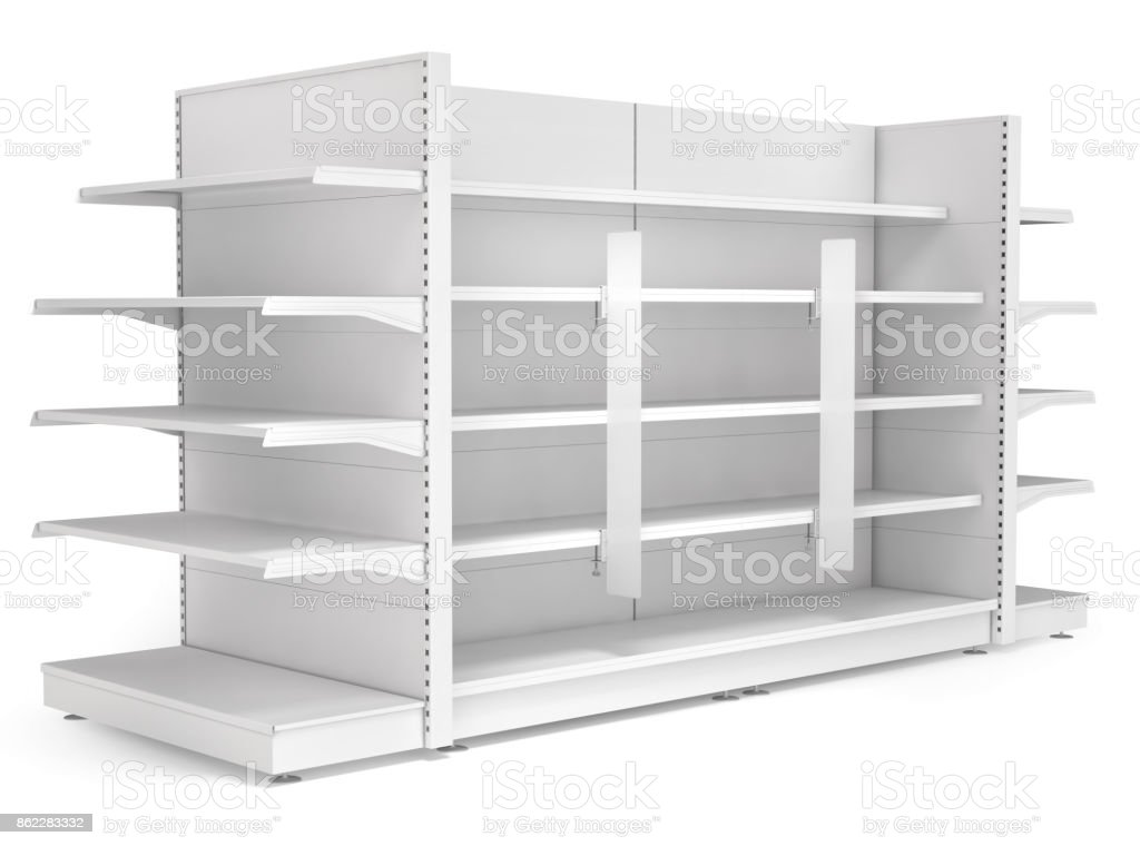 Supermarket shelves with advertising stoppers. stock photo
