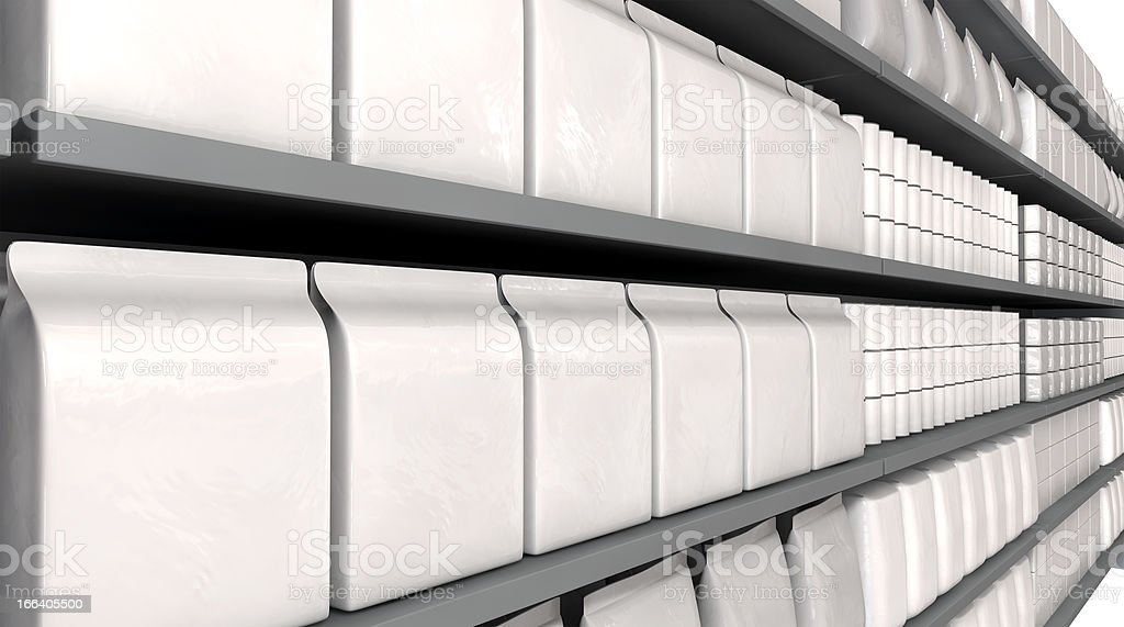 Supermarket Shelves With Generic Products royalty-free stock photo
