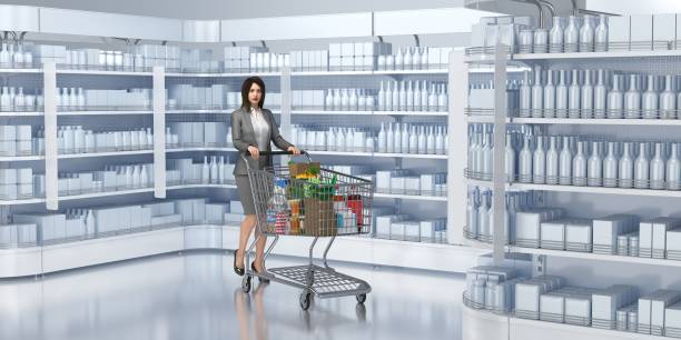 Supermarket shelves with goods, girl with trolley. stock photo