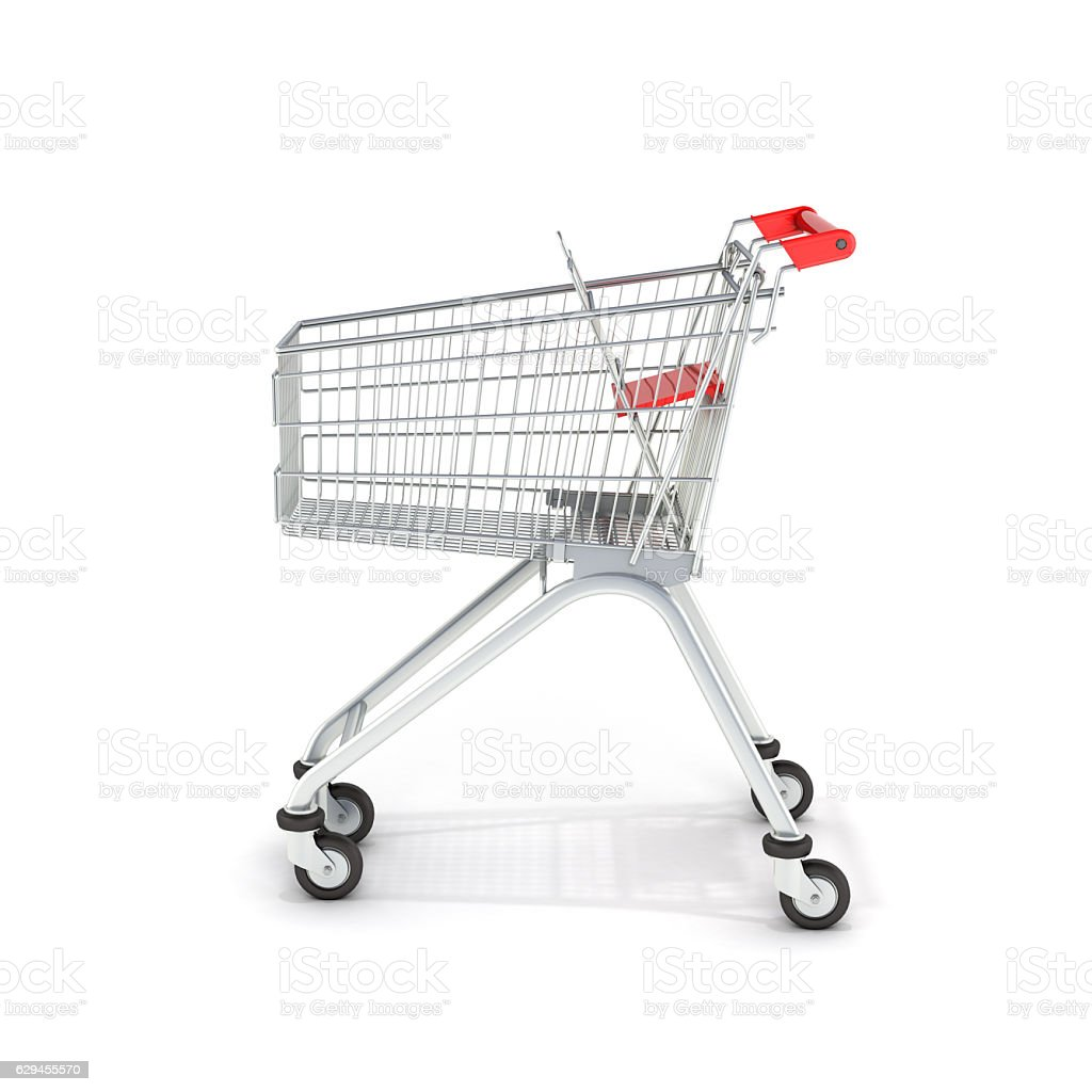 supermarket shopping cart side view on white background 3d stock