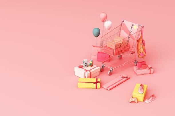 ピンクの背景にクレジットカードとギフトボックスで囲むスーパーマーケットのショッピングカート。3d レンダリング - アイコン プレゼント ストックフォトと画像