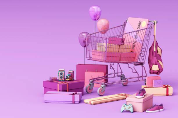 紫色の背景にクレジットカードとギフトボックスで囲むスーパーマーケットのショッピングカート。3d レンダリング - アイコン プレゼント ストックフォトと画像