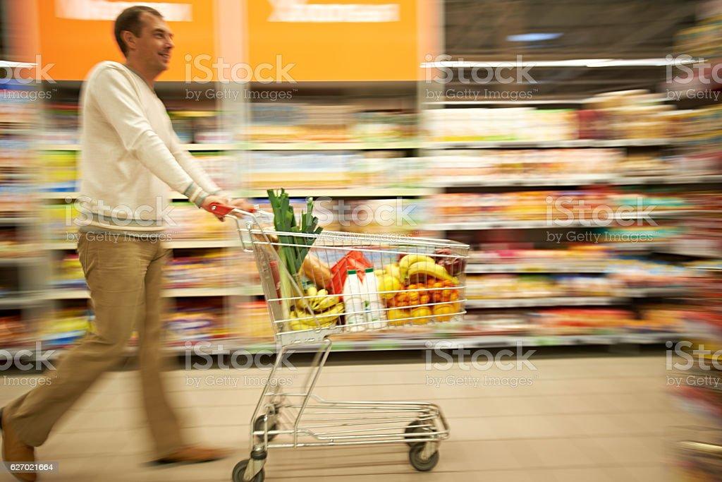 Supermarket shopping stock photo