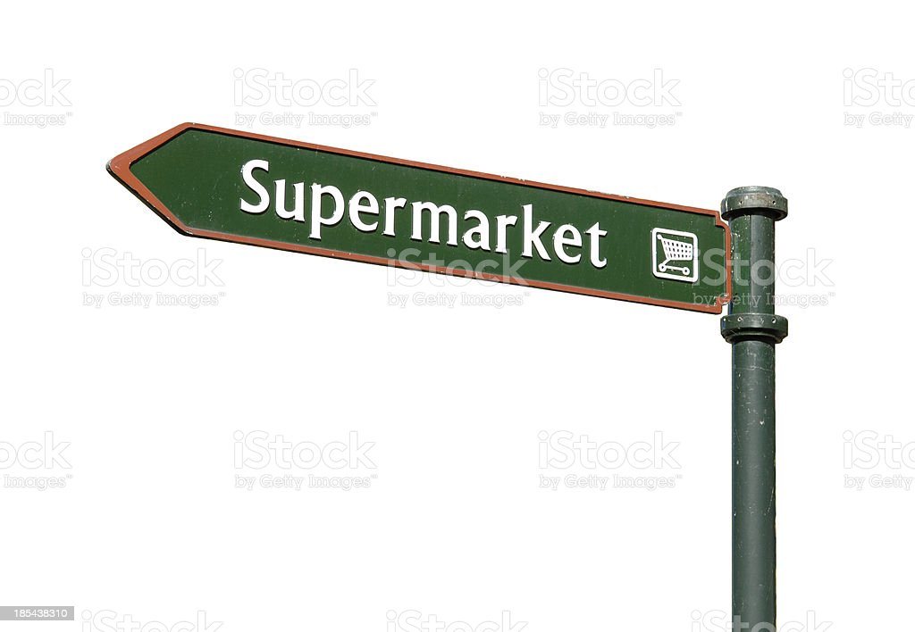 Supermarket sign isolated on white royalty-free stock photo