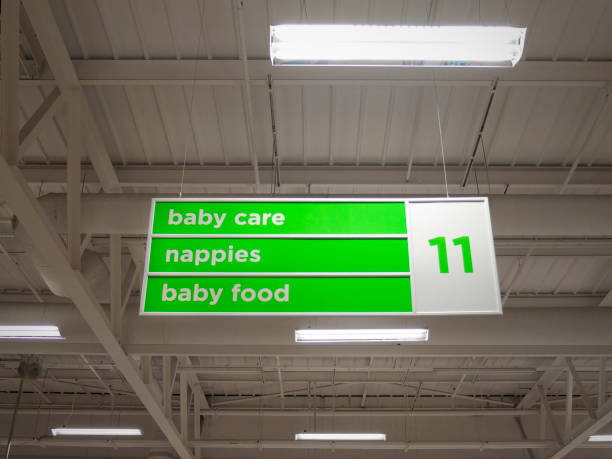 Supermarket sign Low angle view of a supermarket aisle sign inside store aisle stock pictures, royalty-free photos & images