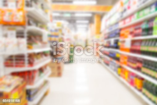 istock Supermarket store blur background with bokeh 654918168