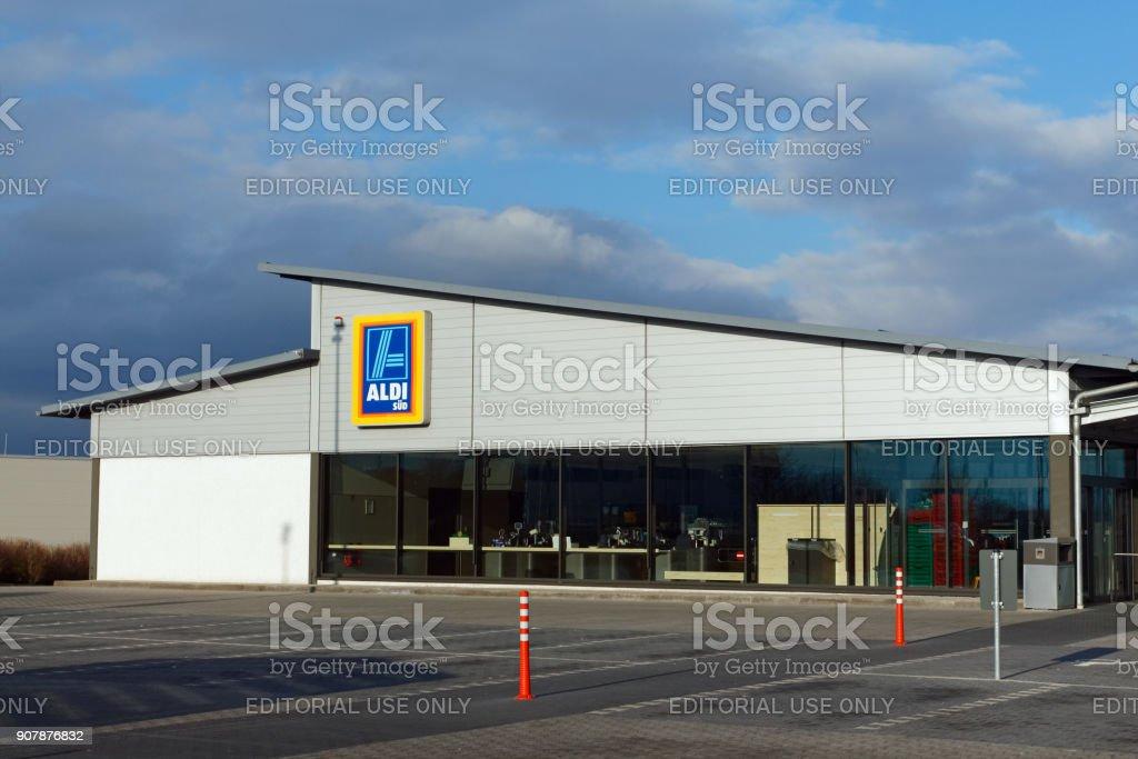 ALDI supermarket store in the german town Amberg stock photo