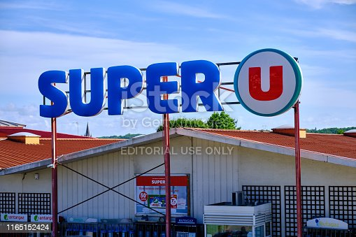 Urdax, France, June 8, 2019: French supermarket Super U store sign above store entrance
