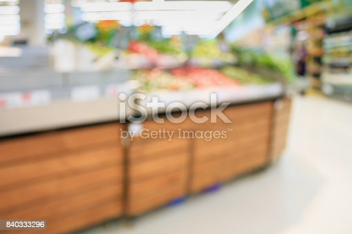 823709528 istock photo Supermarket with fresh food abstract blurred background with bokeh light 840333296