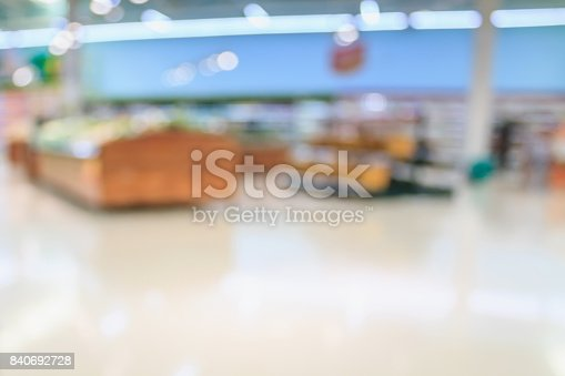 823709528 istock photo Supermarket with fresh food abstract blurred background with bokeh light 840692728