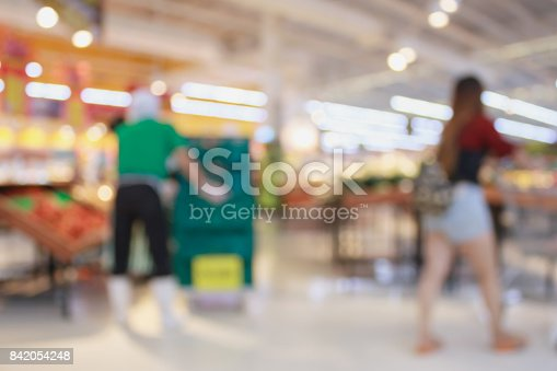 823709528 istock photo Supermarket with fresh food abstract blurred background with bokeh light 842054248