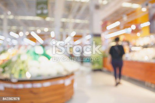 823709528 istock photo Supermarket with fresh food abstract blurred background with bokeh light 842362878