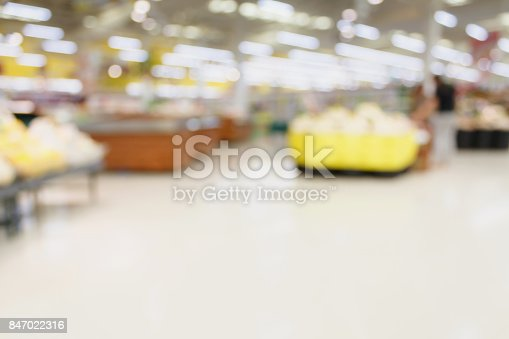 823709528 istock photo Supermarket with fresh food abstract blurred background with bokeh light 847022316