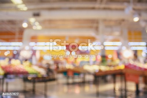 823709528 istock photo Supermarket with fresh food abstract blurred background with bokeh light 848452822