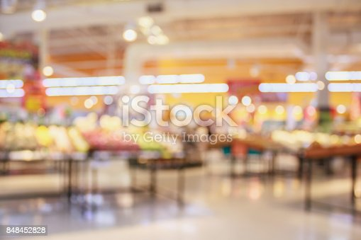 823709528 istock photo Supermarket with fresh food abstract blurred background with bokeh light 848452828