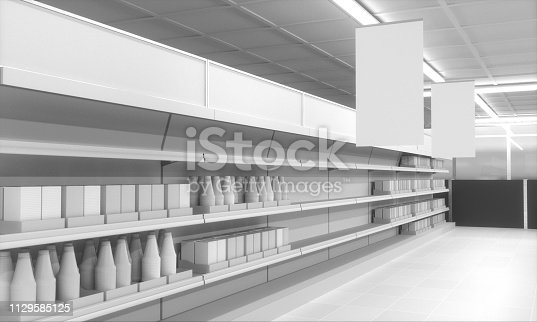 istock Supermarket With Hanging Banners 1129585125