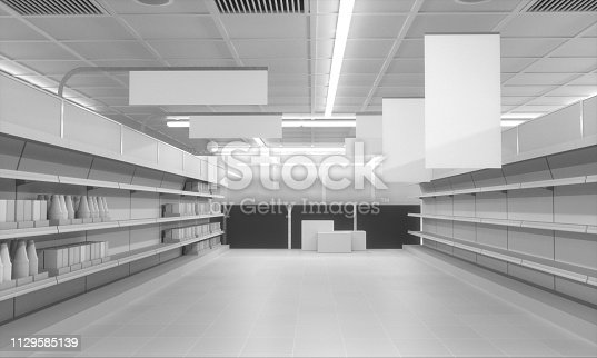 istock Supermarket With Hanging Banners 1129585139