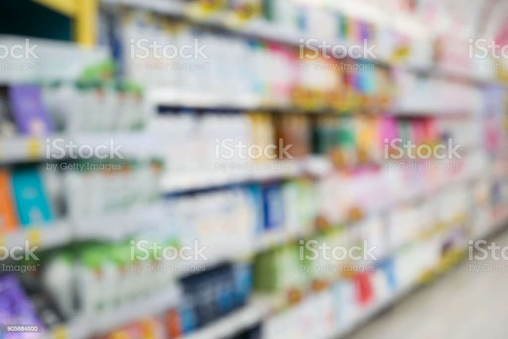 Supermarket With Shampoo And Soap Bottle Products On Shelves Abstract Blur Background Stock Photo Download Image Now
