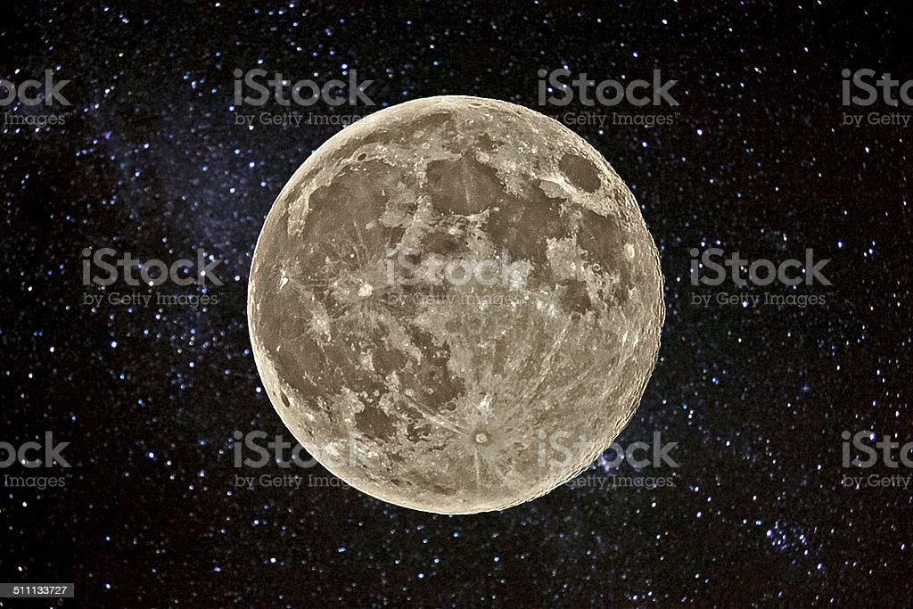 Supermoon and star field stock photo