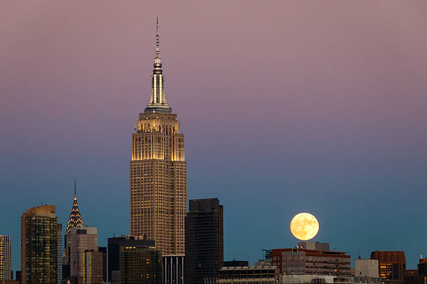 Supermoon and the Empire State Building in New York stock photo