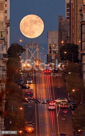 San Francisco California street, bay bridge and supermoon on the background.