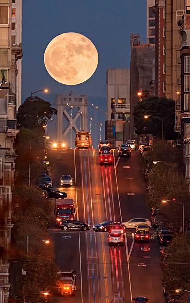 Supermoon at California Street Composition, San Francisco stock photo