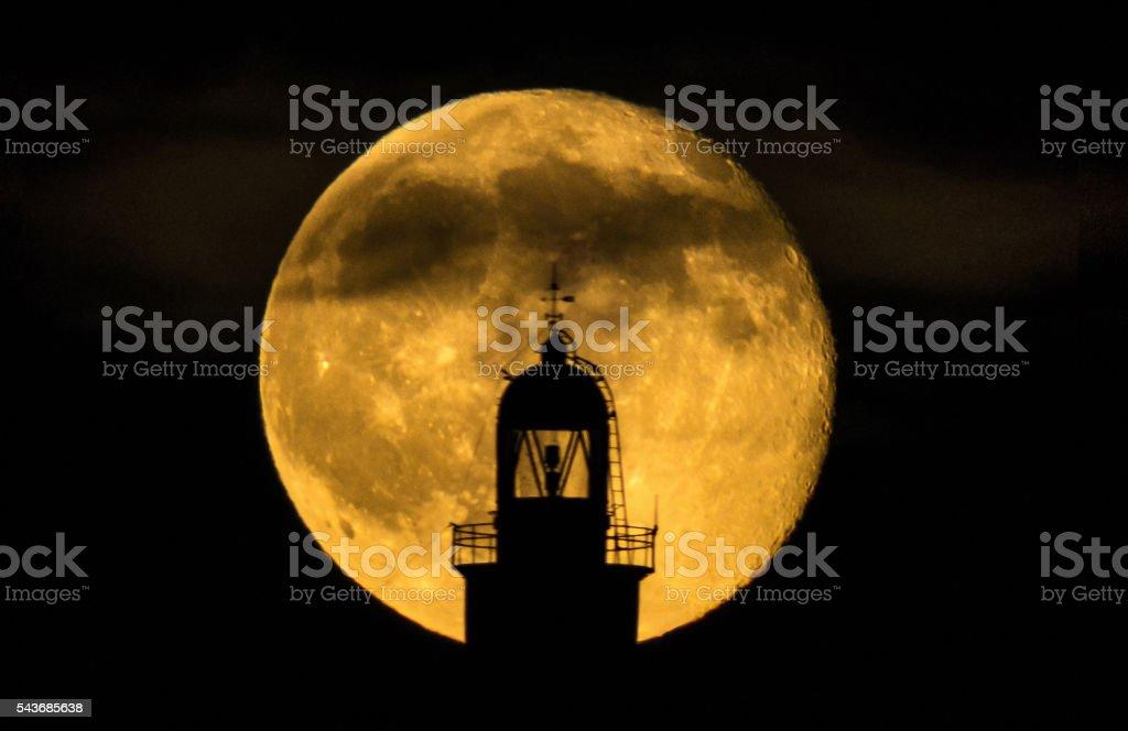 supermoon full moon lighthouse backlight far illes medes zoom fullmoon stock photo