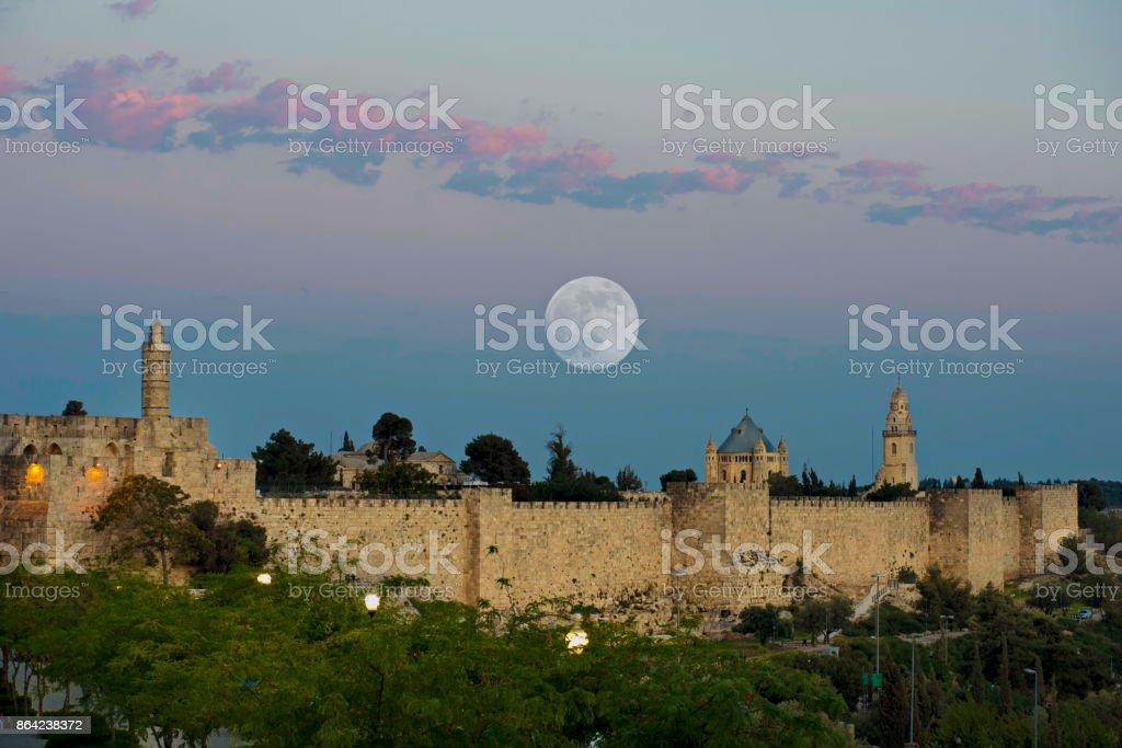 Supermoon over Jerusalem royalty-free stock photo