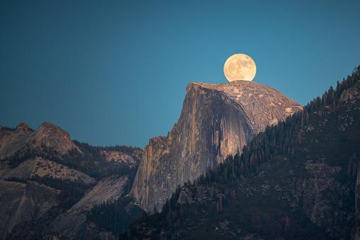 Supermoon Rise Over The Half Dome In Yosemite Stock Photo