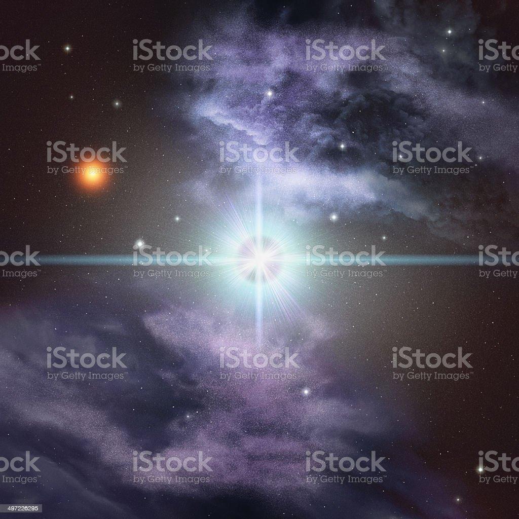 Supernova and nebula on star background royalty-free stock photo