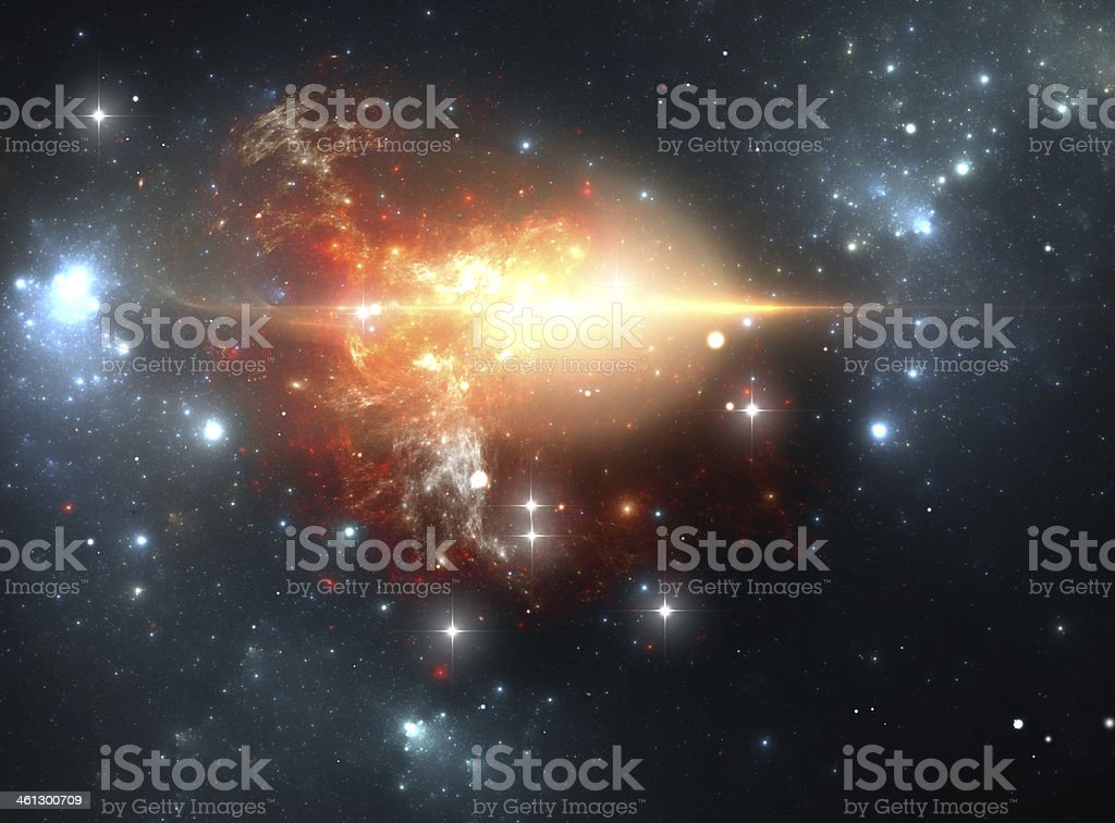 Supernova explosion in the nebula stock photo