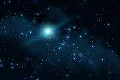 Milky Way stars. Mosaic of several photos through a telescope.