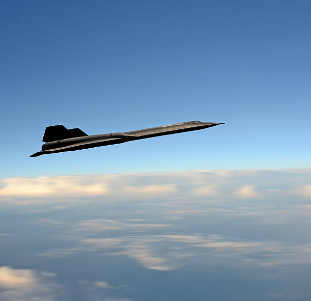 Supersonic fighter jet at high altitude stock photo