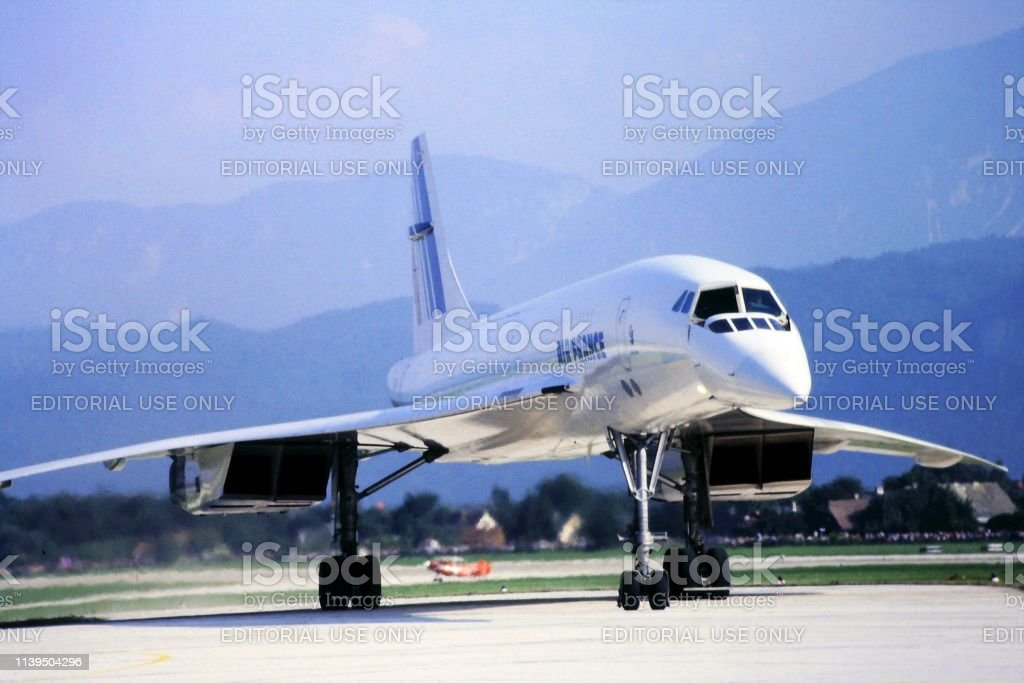 Supersonic plane Concorde 05/01/1984 Klagenfurt Austria, Famous supersonic airplane Concorde run by Air France on a rare visit to Austria during an airport open day 1980-1989 Stock Photo