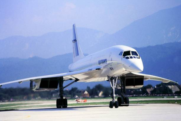 Supersonic plane Concorde 05/01/1984 Klagenfurt Austria, Famous supersonic airplane Concorde run by Air France on a rare visit to Austria during an airport open day supersonic airplane stock pictures, royalty-free photos & images