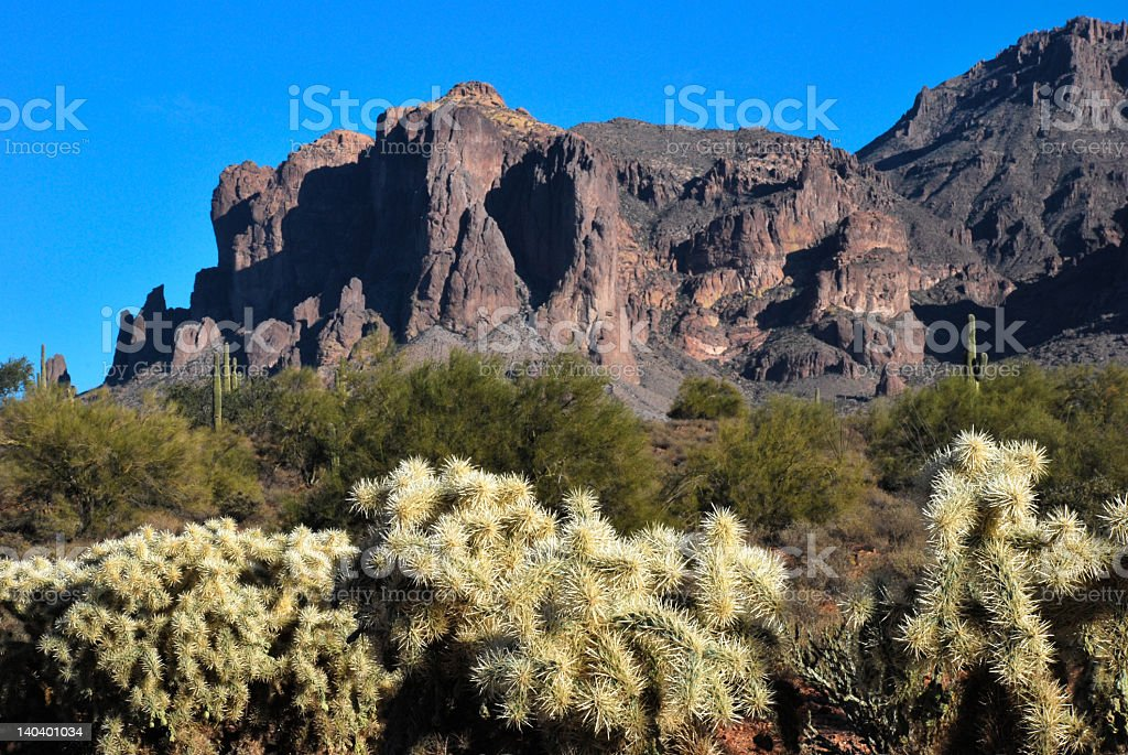 Superstition Mountain with Cholla royalty-free stock photo