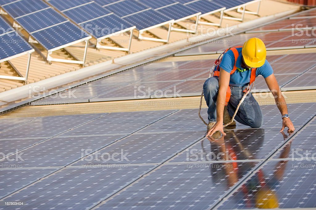 Supervising a photovoltaic instalation royalty-free stock photo
