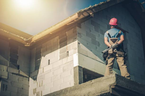 Supervising House Construction stock photo