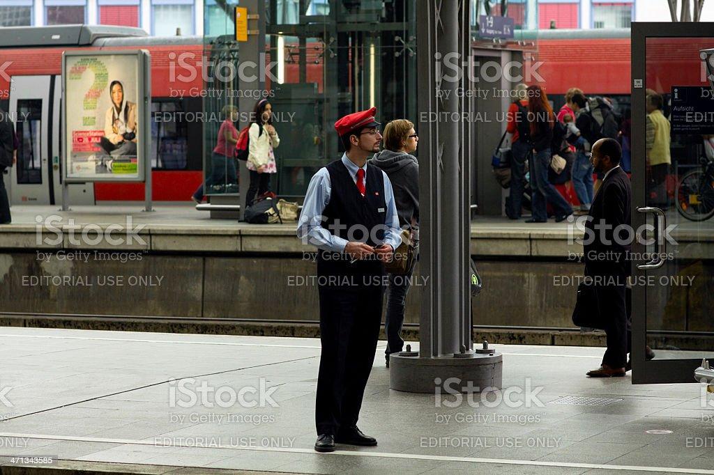Supervisor and controler of Deutsche Bahn stock photo