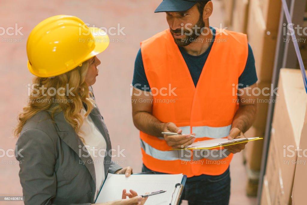 Danışman ve işçi ambarı royalty-free stock photo