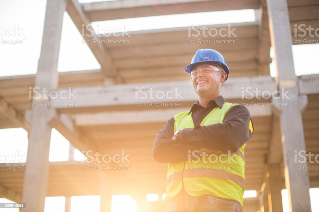 Supervisor on a construction site stock photo