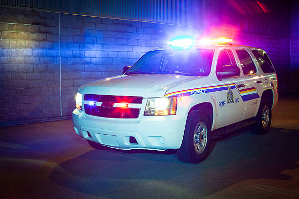 RCMP-GRC Supervisor Vehicle with Lights On stock photo