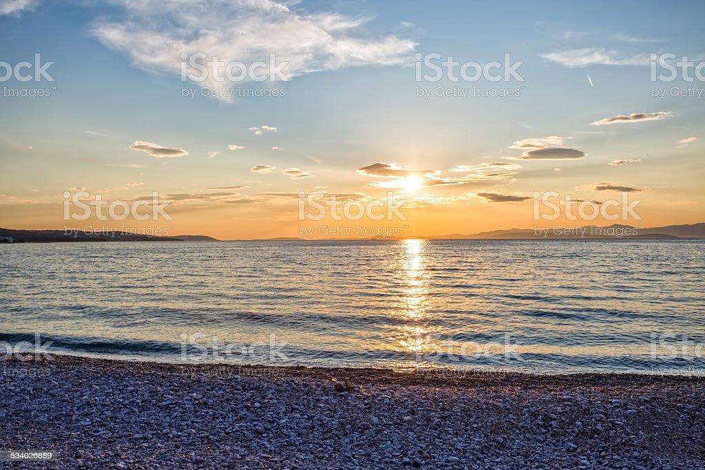 Supetar beach sunset stock photo