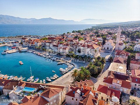 Aerial View of Supetar old town and Harbour in Brac Island