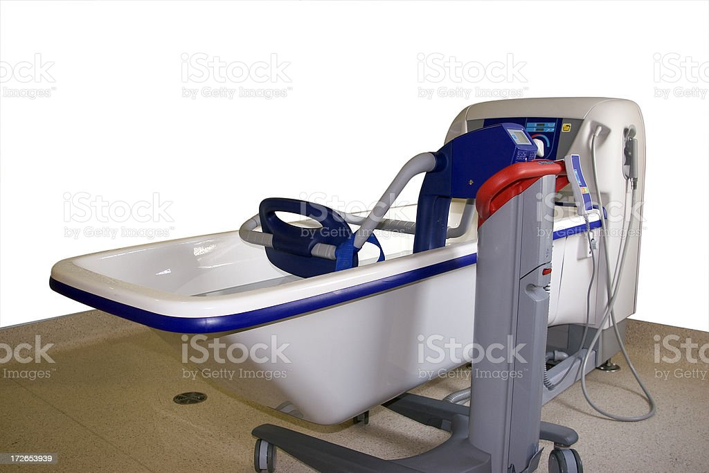 Supline bath with lift chair and path stock photo