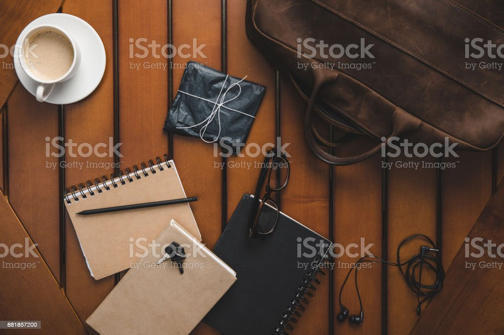 supplies and coffee cup stock photo