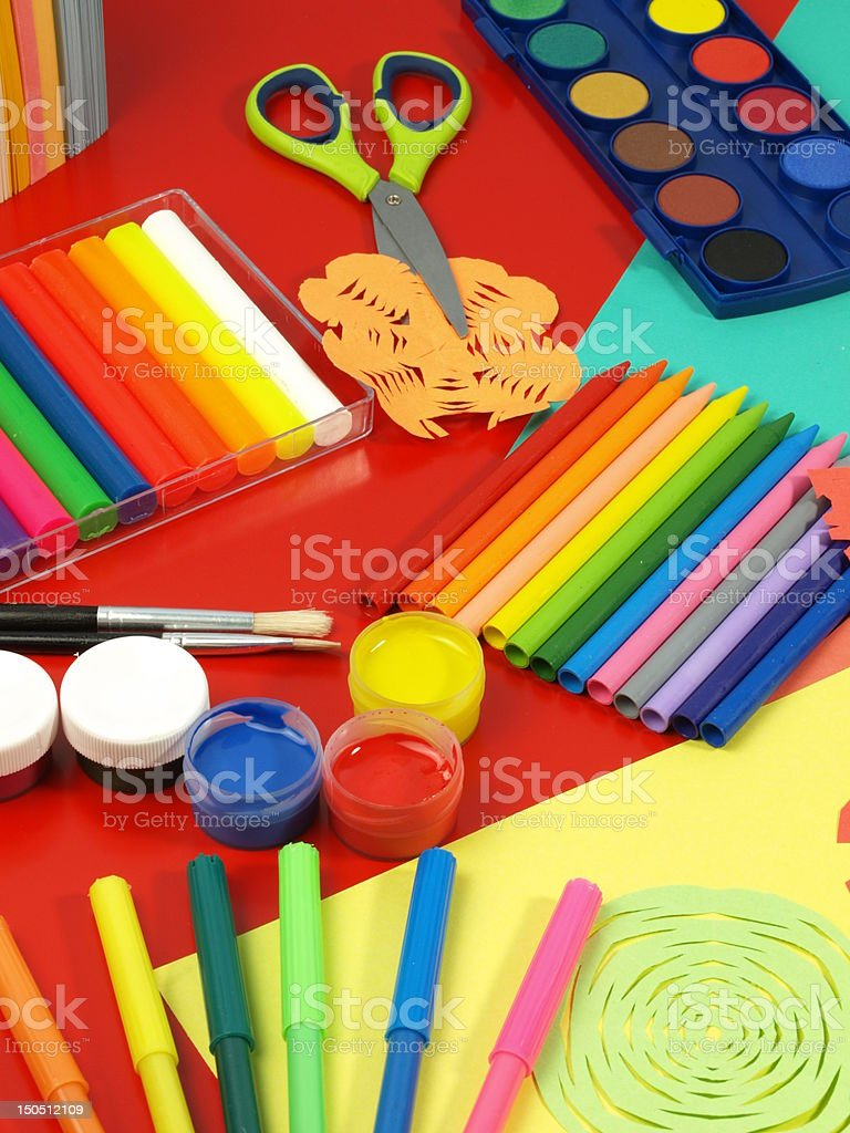 Supplies for art classes royalty-free stock photo